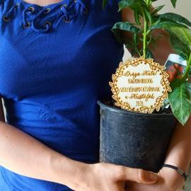 Szülinapi virág/növény kísérő fatábla egyedi üzenettel