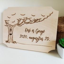 Esküvői húsvágó deszka fa mintával