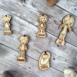 Vágódeszka és fakanál szett gyerek figurákkal