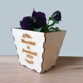 Virágcserép kaspó egyedi üzenettel