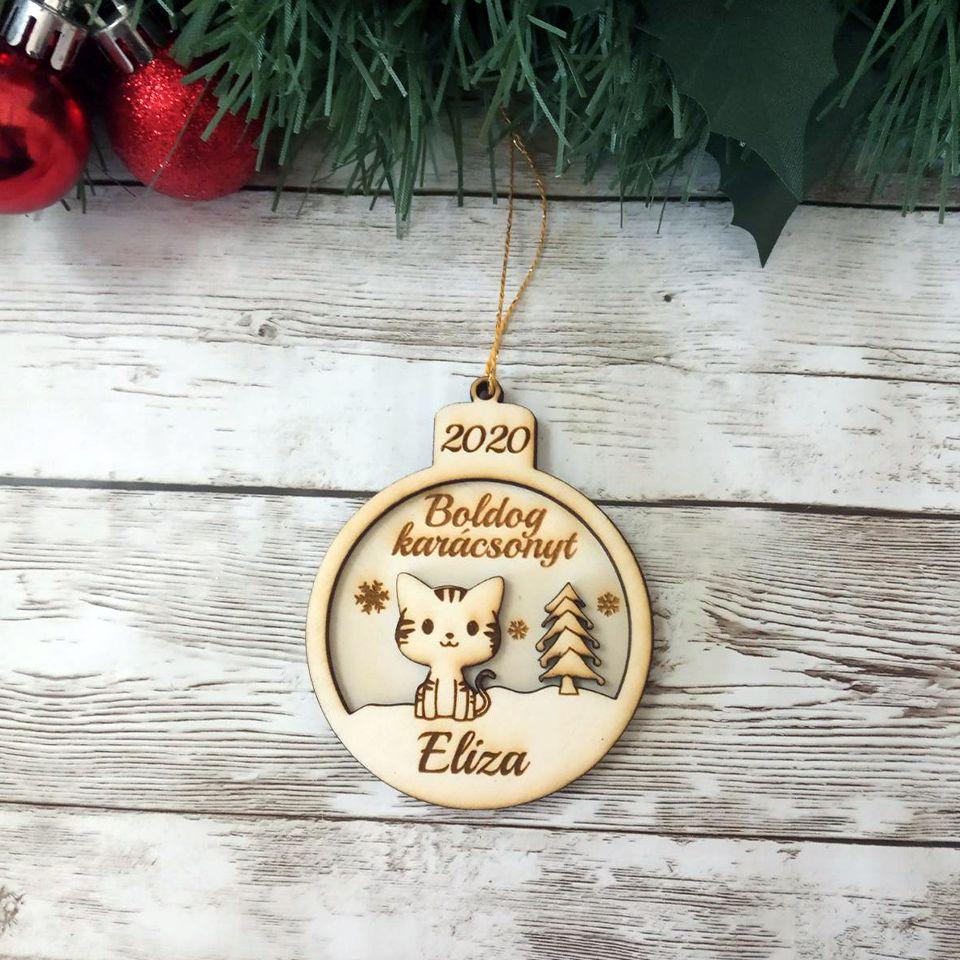 Névre szóló cicás karácsonyfadísz