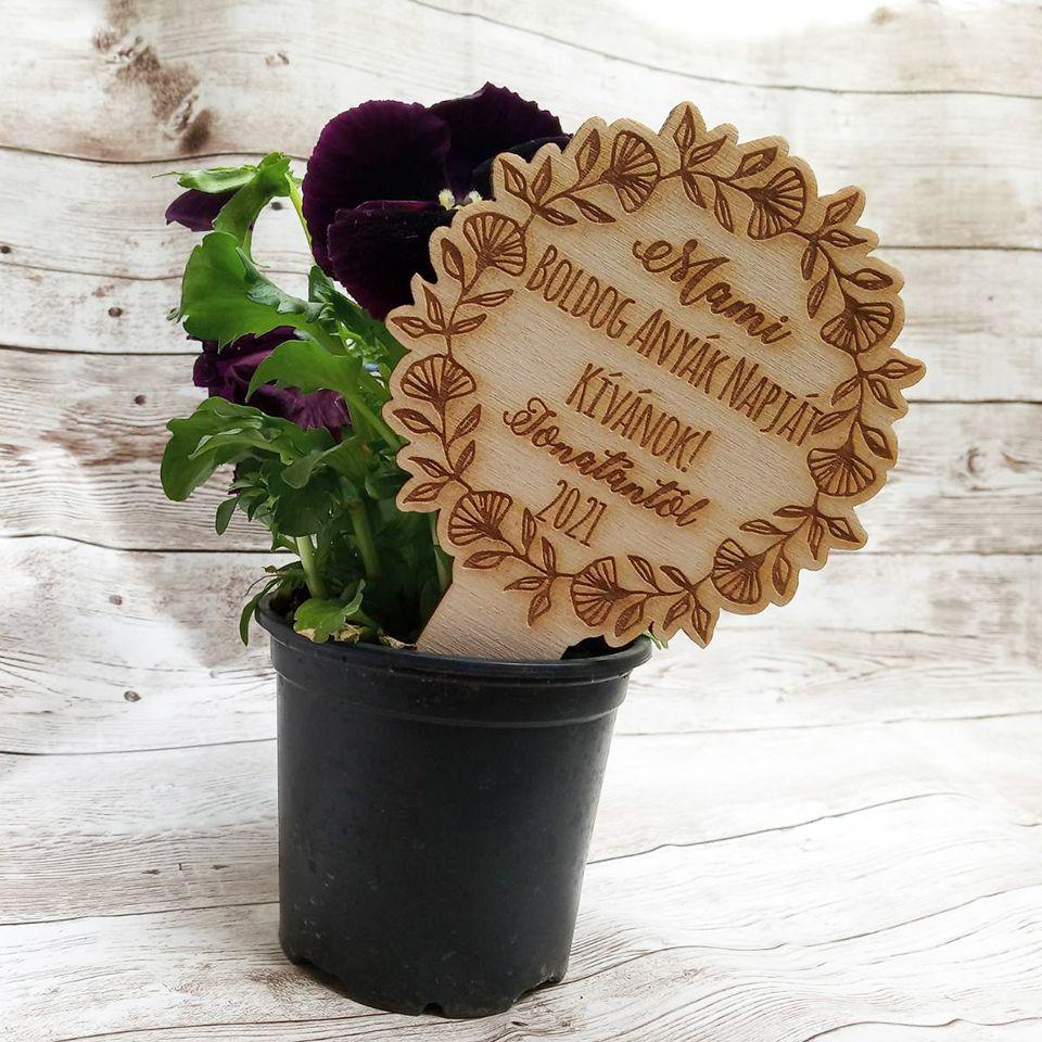 Virág kísérő táblácska személyes üzenettel