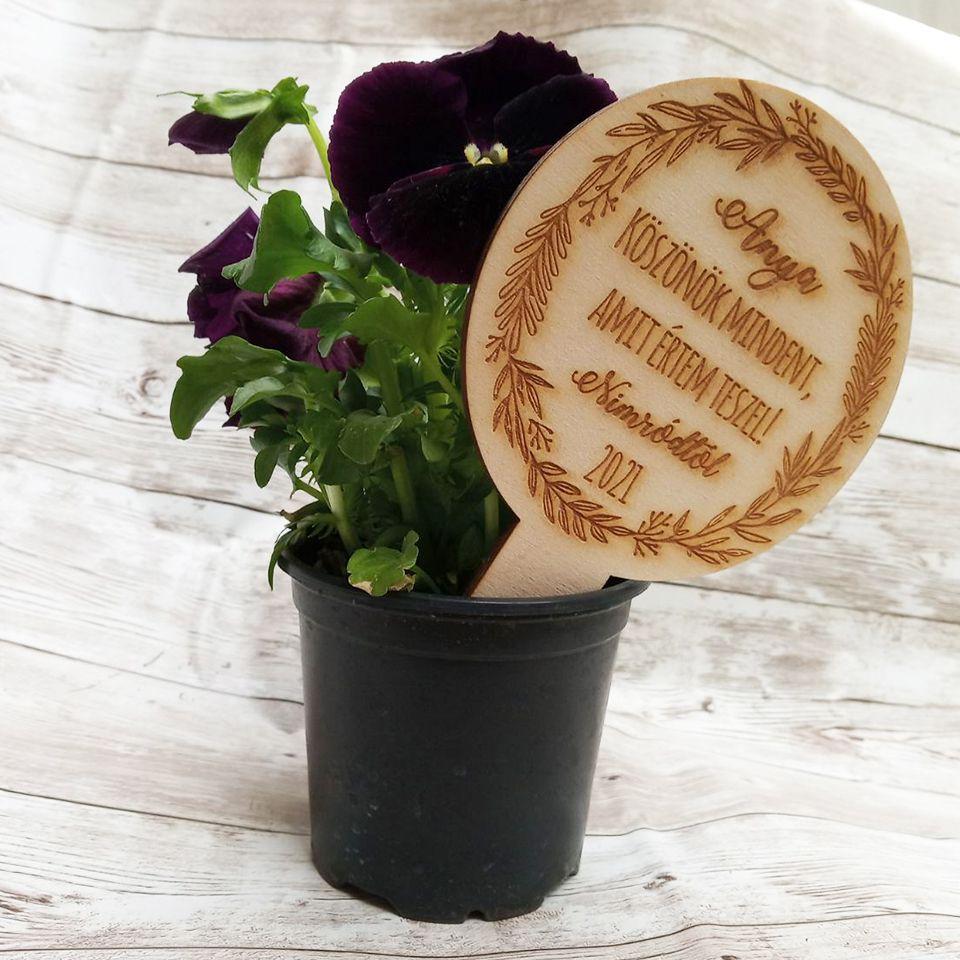 Növény kísérő táblácska személyes üzenettel
