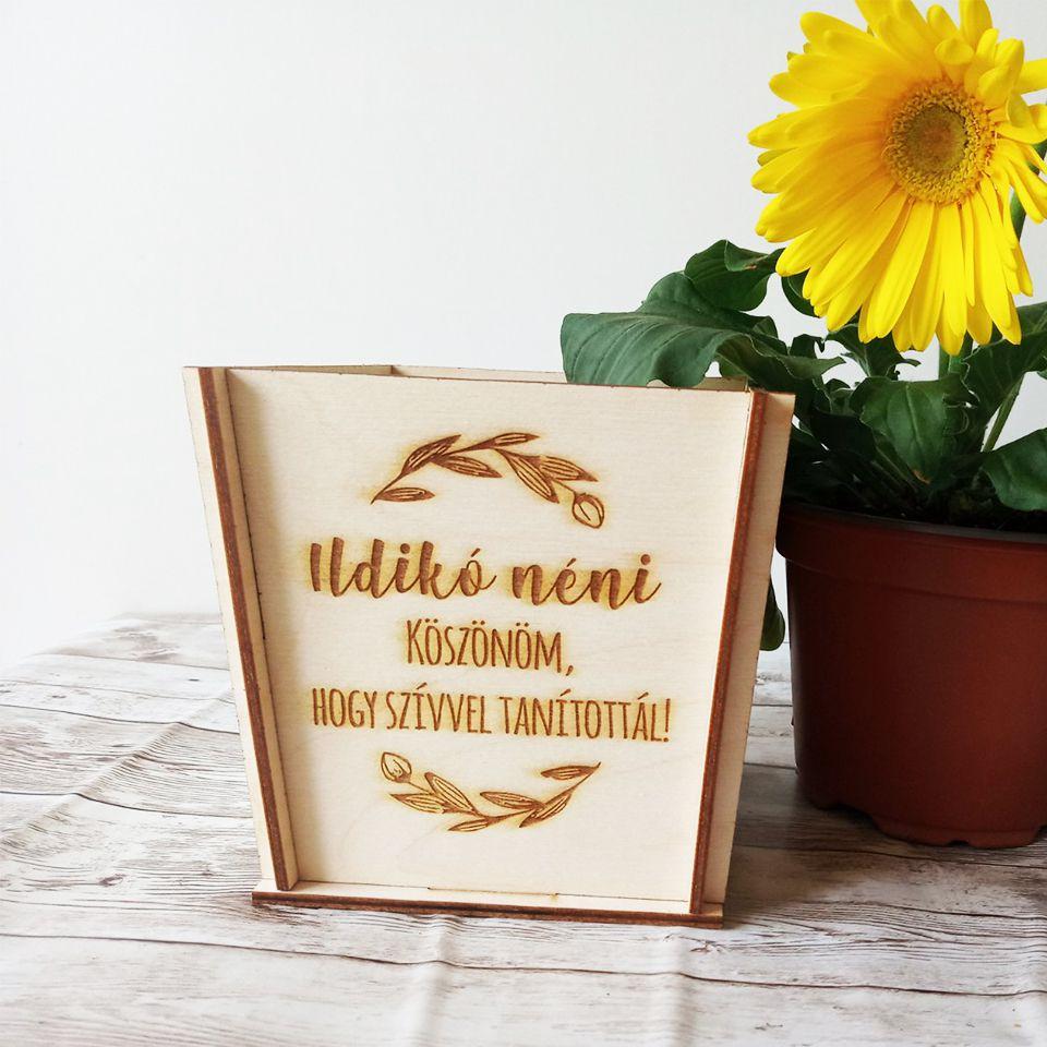 Egyedi virág tartó saját felirattal - tulipános